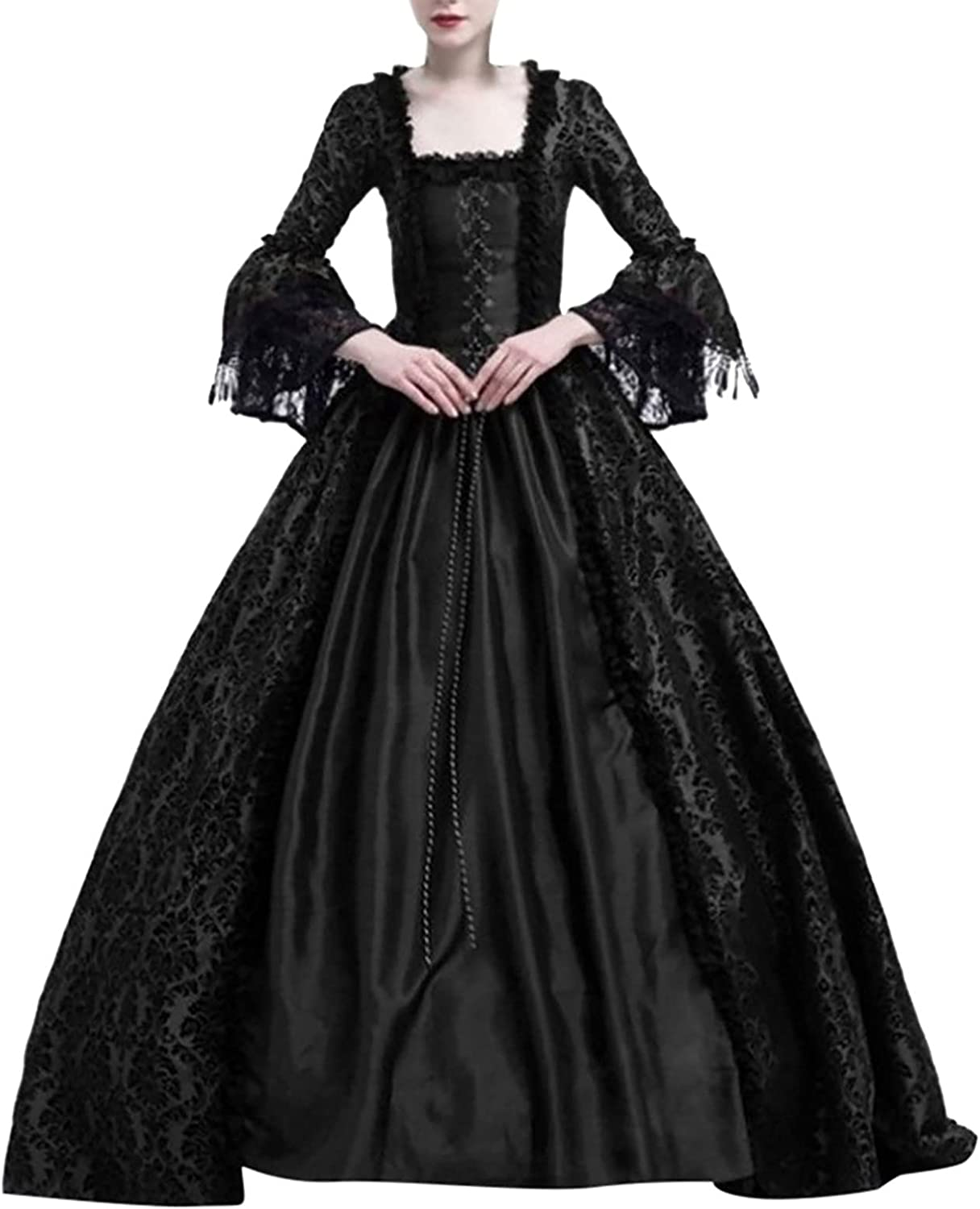 Womens Medieval Vintage Gothic Palace Dress Princess Dress Stitching Waist Floor Length Cosplay Costume