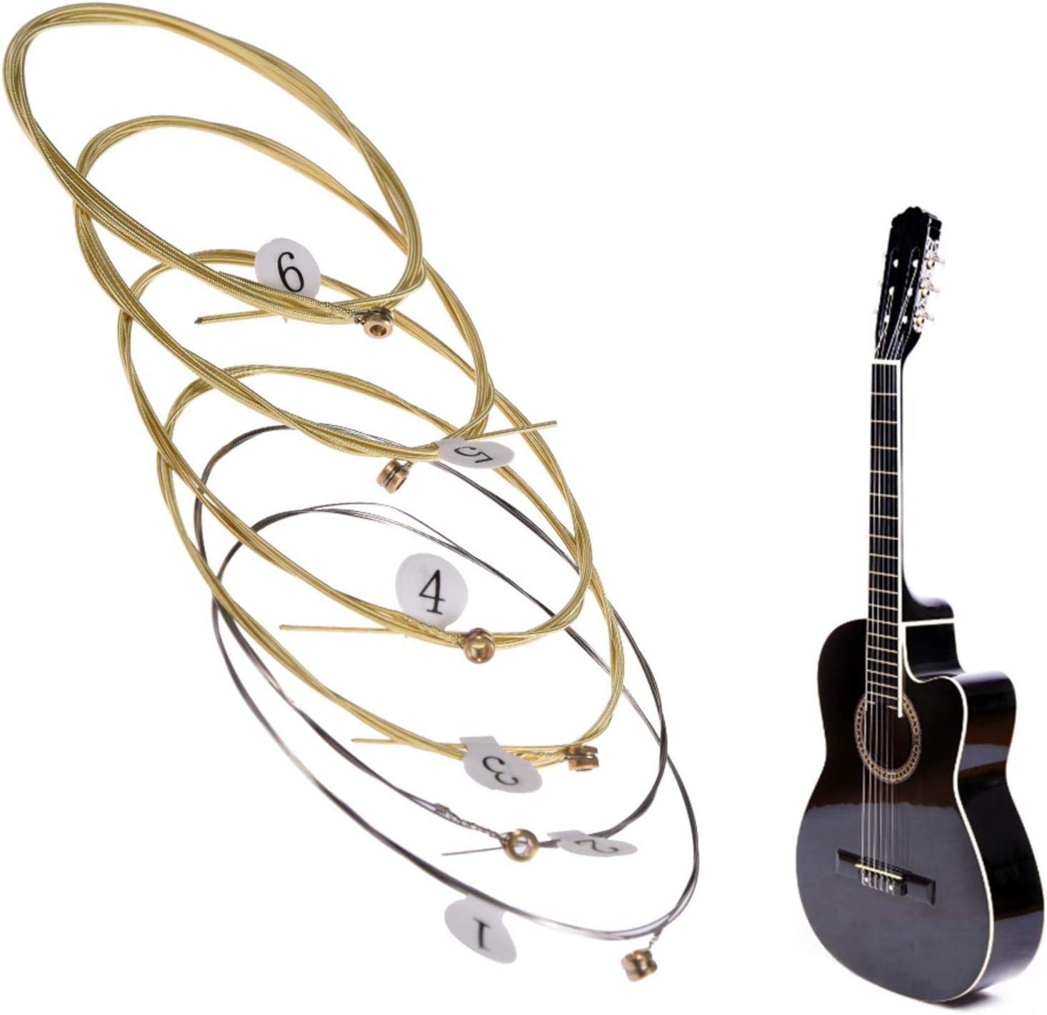 Cuerdas de guitarra acústica, Cuerdas de guitarra acústica universal Cuerdas de núcleo de acero hexagonal de latón para instrumentos musicales, Cuerdas de guitarra de bronce Juego de 6 cuerdas