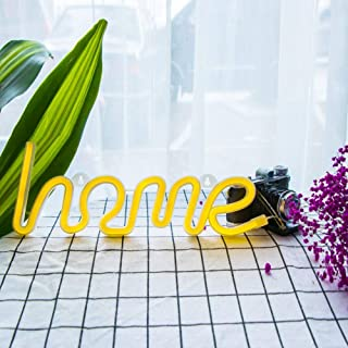 LIKO HOME Neon Signs, LED Neon Light Sign for Party Supplies Girls Room Decoration Accessory for Luau Summer Party Table Decoration Children Kids Gifts (Warm White Home)
