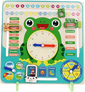 Flameer Kids Calendar Clock Board - Preschool Educational Learning Wooden Toy - Gifts for Toddlers Boys Girls Over 3 Years...