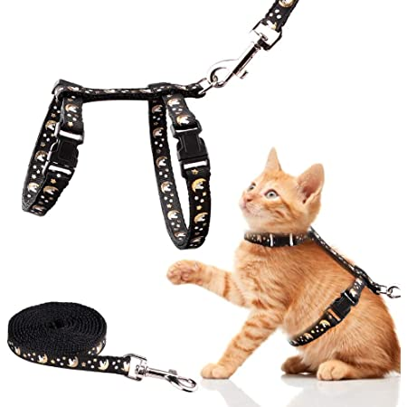 Basuppit Cat Harness and Leash Set Gold Moons Stars Soft Nylon Escape Proof Adjustable for Kittens Small Animals Glow in The Dark