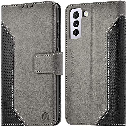 elephones Handyhülle für Samsung Galaxy S21 Plus Hülle mit TÜV geprüftem RFID-Schutz aus PU Leder Samsung Galaxy S21 Plus Schutzhülle Flip Hülle Klapphülle Handytasche für Samsung S21+ | S21+ 5g Grau