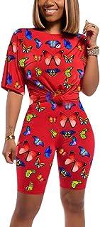 Mujer Conjuntos de Deportivos 2 Piezas Camiseta y Pantalones Cortos Estampado de Mariposa Chándal Elástico Skinny Ropa de ...