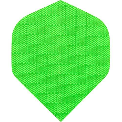 Designa Stoff Nylon Dart Flights, Standard Fluro Grün–5sets (15)–inklusive Darts Ecke gebogen Kugelschreiber