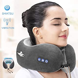 Mingzhen Massage Travel Pillow Rechargeable with Kneading and Vibration Function, Memory Foam Neck Pillow Suitable for Airplane, Train or Car, Fabric, Grey, X-Large