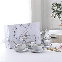 Luxury Marble Pattern Set Of 6 Ceramic Mugs Coffee Cup Saucer Sets Morning Mug Milk Coffee Tea Breakfast Porcelain Cup Wit...