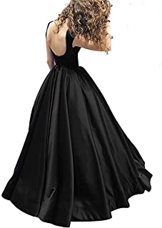 Satin Prom Dresses Long with Pockets Backless A-Line Evening Ball Gowns for Women 2019