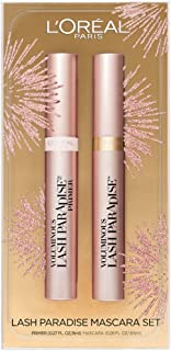 L'Oreal Paris Cosmetics Lash Paradise Lash Primer & Mascara Holiday Kit, Thickens Lashes And Helps Enhance Mascara Wear, Blackest Black and Millennial Pink, 2 Count