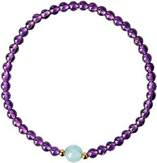 Feng Shui Braccialetto di ricchezza naturale Ametista Braccialetto di cristallo Guarigione Aquamarine Chakra 4mm Branelli ...