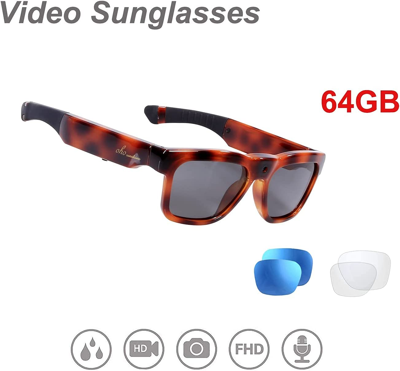 OhO Mini Camera Sunglasses, Water Resistance Ultra Full HD Camera with Built-in 64GB Memory and UV 400 Polarized Sunglasses Lens for Indoor and Outdoor Use