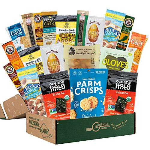KETO SNACK BOX [20 Count] Low Carb Snacks, Low Sugar, Gluten Free Healthy Snacks Gift Basket | INDEPENDENCE DAY Gift Basket Filled, Get Well, GRADUATION GIFTS | Best Keto Snacks