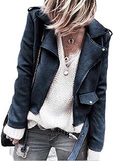 Women's Sport Coat Oblique Zipper Lapel Sueded Jacket