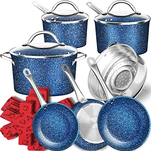DF 16-Piece Stone Induction Cookware Set, Ultra Non-Stick Pots and Pans...