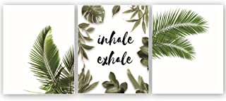 """Green Leaves Art Picture Inhale Exhale Quote Inspirational Art Print Set of 3 (10""""X8""""Canvas Yoga Wall Art Poster for Office Living Room Home Decor Relaxation Gift,No Frame"""
