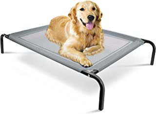 Elevated Dog Bed - Raised Pet Cot in or Out-Door Cots for Dogs Beds - Lifted Hammock Trampoline Suspended Platform Style for Cooling - Indestructible Chew Proof Mesh Cool Off The Ground Floor