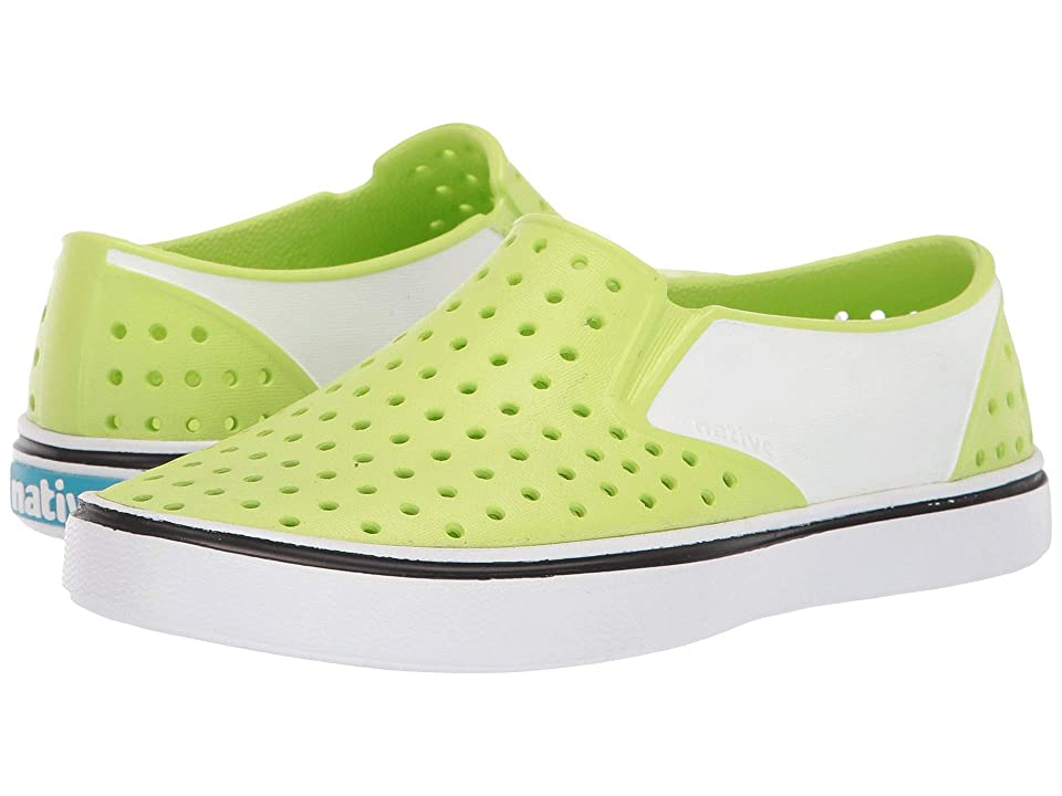 Native Kids Shoes Miles Block (Little Kid) (Sunny Green/Shell White/Shell Block) Kids Shoes