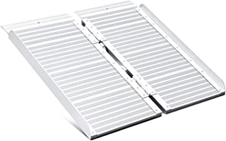 ORFORD Wheelchair Ramp 2ft for Home Steps Stairs Doorways Scooter, Utility Mobility Access Non Skid Folding Wheelchair Ramp, Portable Aluminum Foldable Threshold Ramp 2ft