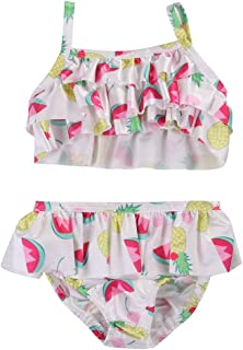 d5d9aaef94 Glosun 2PCS Toddler Baby Girl Swimsuit Ruffle Bikini Bathing Beachwear  Fruit Print Sleeveless