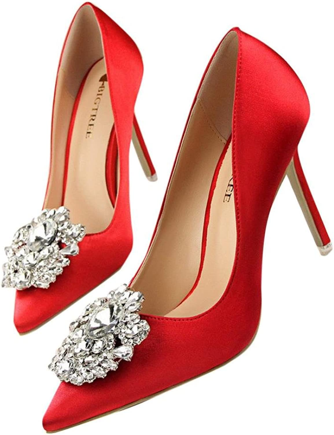 Outsta Women Pumps Elegant Rhinestone High Heels shoes Sexy Thin Pointed Single shoes (Red, US 7)