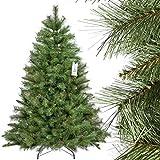 FairyTrees Árbol de Navidad Artificial Abeto ESCANDINAVO, Material PVC, Las piñas verdaderas, el Soporte en Metal, 150cm, FT16-150