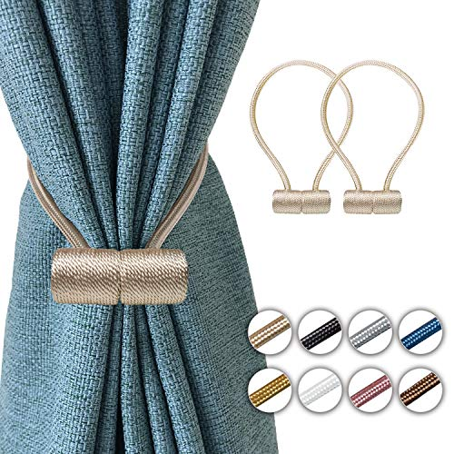 Elctman Magnetic Curtain Tiebacks Clips - Window Curtain Holdbacks for Home Office Decorative Rope Tie Backs, Curtain Tiebacks for Drapes, No Tools Required - 3 Pair -3Beige