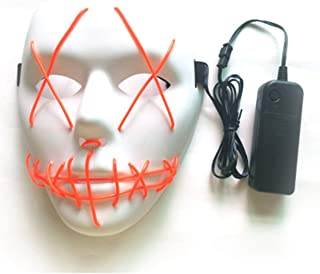 Halloween Mask LED Masks Glow Scary Mask Light up Cosplay Mask Glow in Dark for Festival Music Party Costume Christmas - White