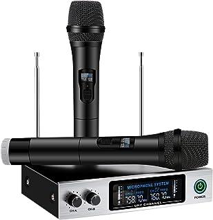 UHF Wireless Microphone System, ELEGIANT Dual Channel Handheld HiFi Wireless MicrophonesKaraoke Receiver Metal Professional Singing Machine for Speech Conference Outdoor KTV Home Party Wedding Church
