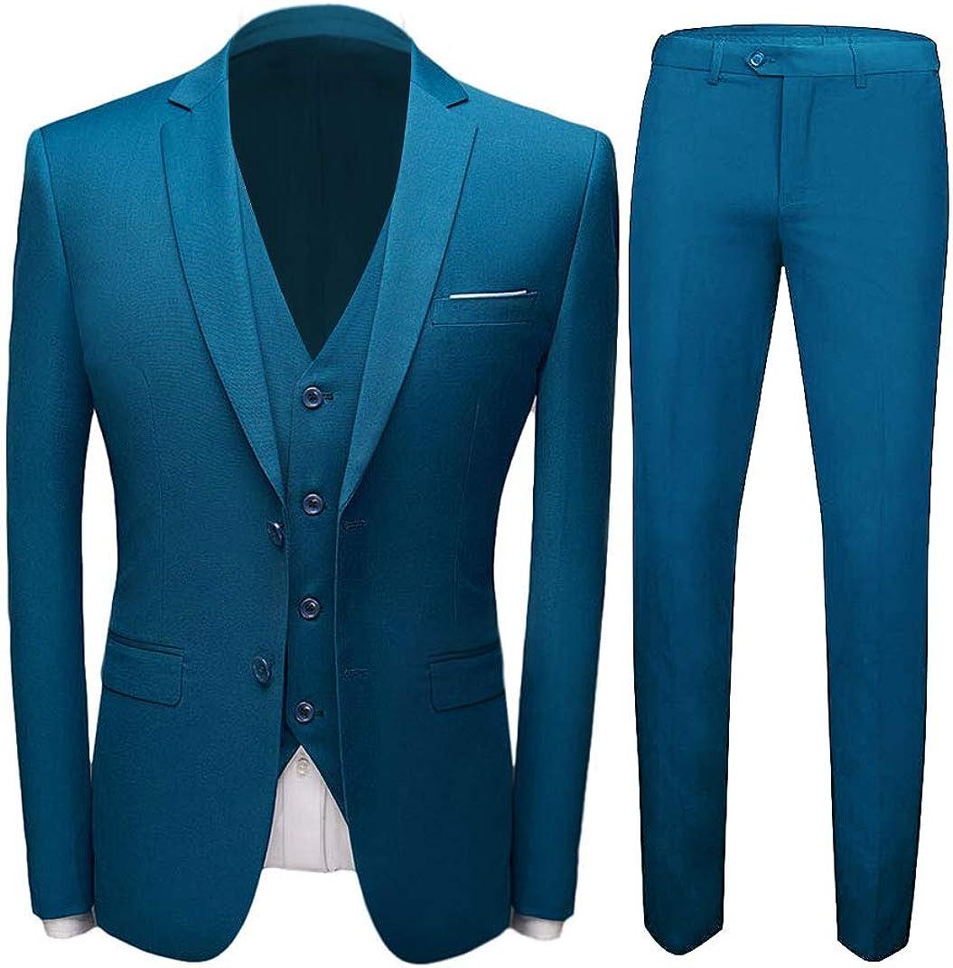 Men's Blue 2 Buttons 3 PC Wedding Suits Peak Lapel Groom Tuxedos Prom Party Suits Dinner Suit
