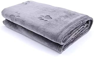 "YINXUE 2 Pack Soft Pet Flannel Blanket with Cute 3D Paw Design, 30"" x 40"" Warm Dog Cat Sleep Mat Bed Cover (Grey)"