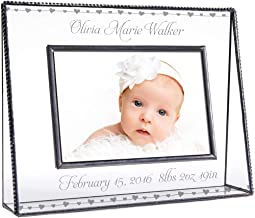 J Devlin Pic 319-46H EP508 Personalized Baby Picture Frame Engraved Clear Glass 4 x 6 Photo New Baby Hearts