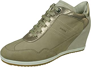 GEOX Womens Sneakers D Illusion B Nubuck Leather Wedge Boots