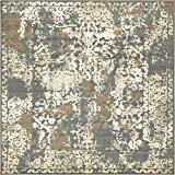 Unique Loom 3138726 Vintage Distressed Traditional Square Rug, 8', Gray/Beige