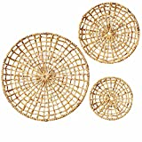 Artera Wicker Wall Basket Décor - Set of 3 Oversized D20' to D10', Natural Hanging Woven Baskets, Round Organic Wall Basket Decor Disks for Living Room or Bedroom, Unique Wall Plaque .