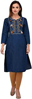 Women's/Girl's Embroidered Straight Fit Blue Denim Kurti