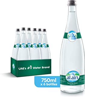 Al Ain Sparkling Water in Glass Bottle - 750 ml (Pack of 6)