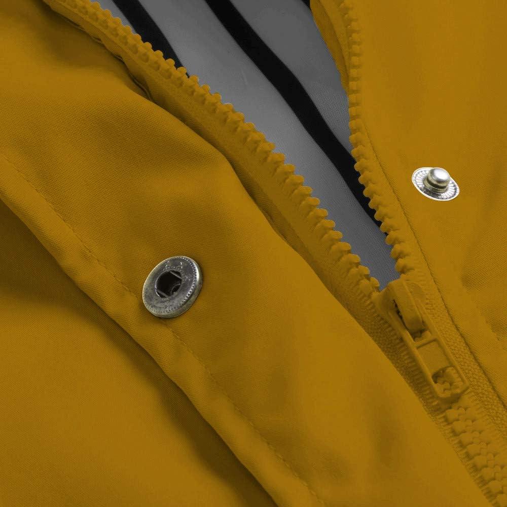 TOWAKM Wasserdichter Kapuzen Regenmantel Damen Solide Regenjacke Freien Winddichte Überzieher Multicolor Multicode Gelb-1