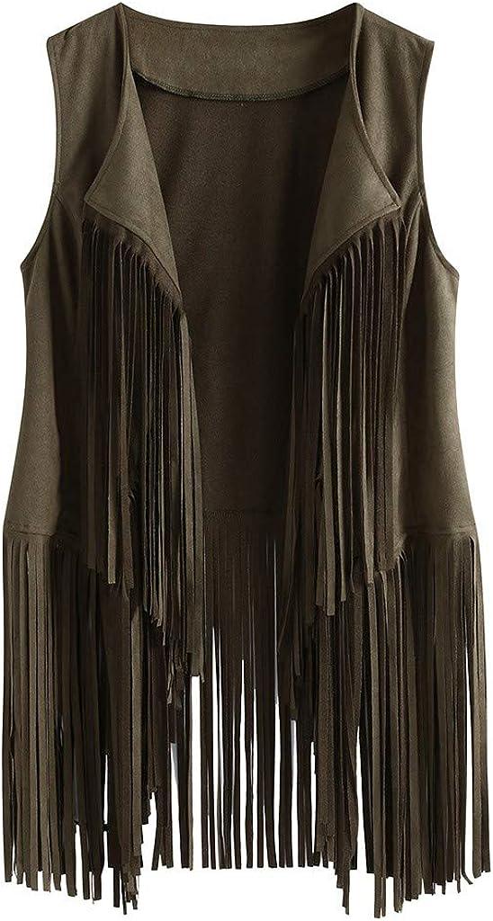 Women Tassel Vest 70s Hippie Faux Suede Rivets Sleeveless Fringe Jackets Cardigans S-3XL