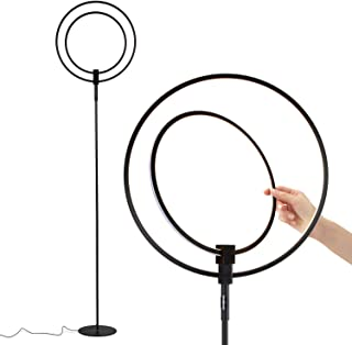 Brightech Eclipse Torchiere LED Floor Lamp - Super Bright & Dimmable Modern Light For Living Room Or Office Tasks - Tall Standing Pole Lamps - Adjustable Position Ring Lighting - Black