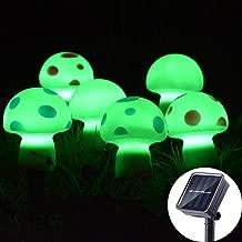 Viewpick Outdoor Solar Garden Lights LED Solar Mushroom Decor Rechargeable Stake Lights 8 Modes Solar Yard Ornaments Lights, 11.5ft 6 Mushrooms, Green Lights for Garden Patio Backyard Pathway Decor