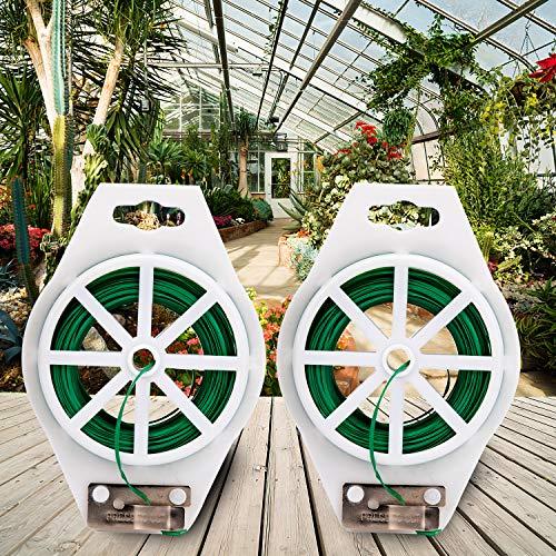 BED COTTON Jardinería Alambre Plastificado(100M),Tutor Tomate Plantas, con Cutter para Jardinería, Hogar, Oficina (Verde)