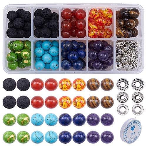 SUNNYCLUE 200 pcs + 6mm Naturel 7 Chakra Lava Pierre Perles Rondes en Vrac Perles Kit Entretoise Perles avec Cristal Cordes pour Huile Essentielle Fabrication de Bijoux