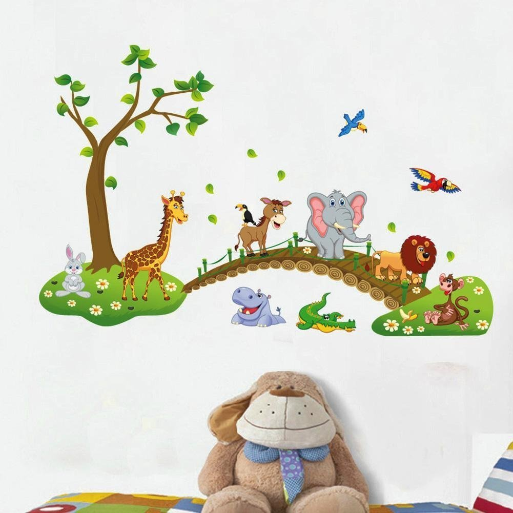 並行輸入品 MLM Lovely Giraffe Monkey Rhinoceros Lion Zoo Zoological Ggarden Art Wall Stickers Decal for Nursery Home Decor MLM