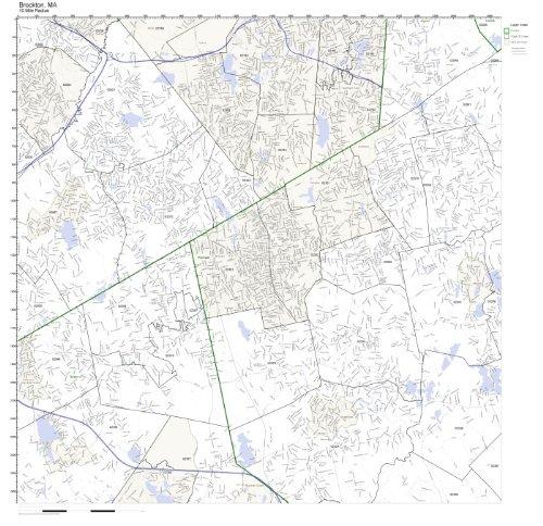 Brockton, MA ZIP Code Map Laminated