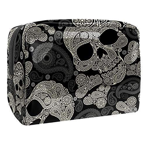 Bolsa de maquillaje cosmético con soporte para brochas de viaje, bolsa de aseo portátil, monedero con cremallera negra para mujeres y niñas, tótem negro dorado