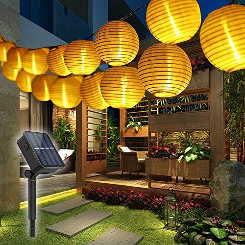 LED Solar Lichterkette Außen,6m Solar LED Lampion Lichterkette, 30er LED Lichterketten Wasserdicht Solar Beleuchtung Aussen für Garten, Hof, Balkon, Hochzeit, Fest Deko - Warmweiß [Energieklasse A++]