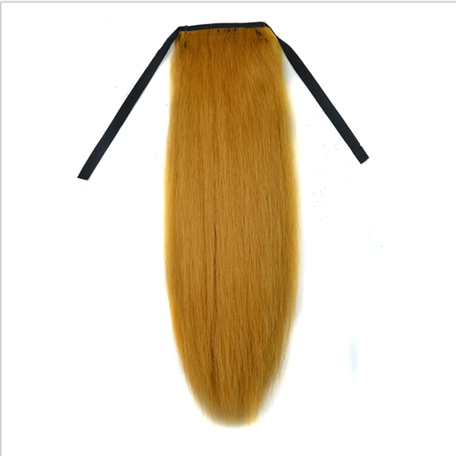 WEATLY 18inch Long Straight Mixed Real Hairpieces For Women Ponytail Natural colorTender Yellow Fluffy Straight Hair Extension Wigs For Not Hot Dyed (color   Tender yellow)