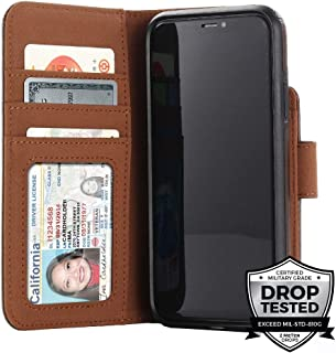 "Prodigee [Wallegee Brown Leather for Apple iPhone Xs Max 6.5"" 2018 Case Wallet Credit Card ID Money Holder Case 2-in-1 Flip Folio Cover"