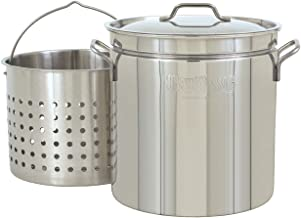 Bayou Classic 1124 1124-24-qt Stainless Stockpot with Basket, 24 quarts, Silver