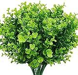 6 piezas de plantas artificiales de plástico falso arbustos verdes plantas resistentes a los rayos UV hierba de trigo de plástico para interior al aire libre decoración del jardín del hogar Baifa