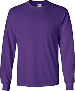 Gildan Mens Ultra Cotton 100% Cotton Long Sleeve T-Shirt, XL, Purple